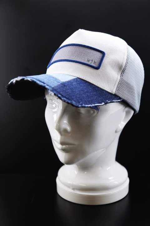 cut-off mesh cap (denim patchwork)