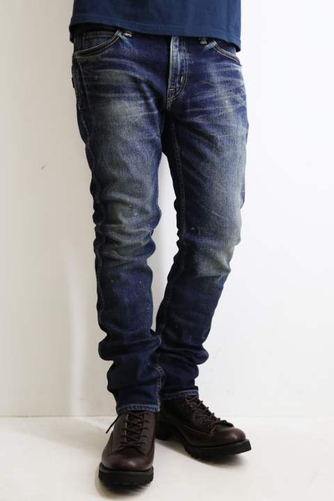 DAMAGE STRETCH SLIM DENIM PANTS Indigo