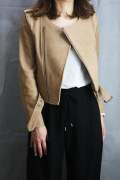 COLLAR LESS RIDERS JACKET Beige