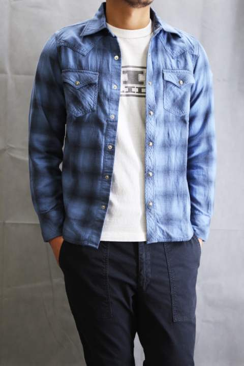 L/SL W GAZE OMBRE CHECK SHIRTS  Blue