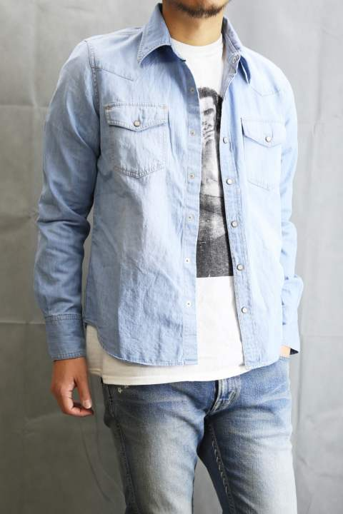 L/SL PRINT DENIM SHIRTS INDIGO LIGHT