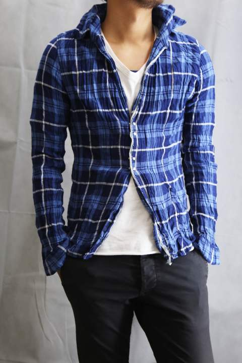 Wrinkle Check Shirt BLUE×NAVY