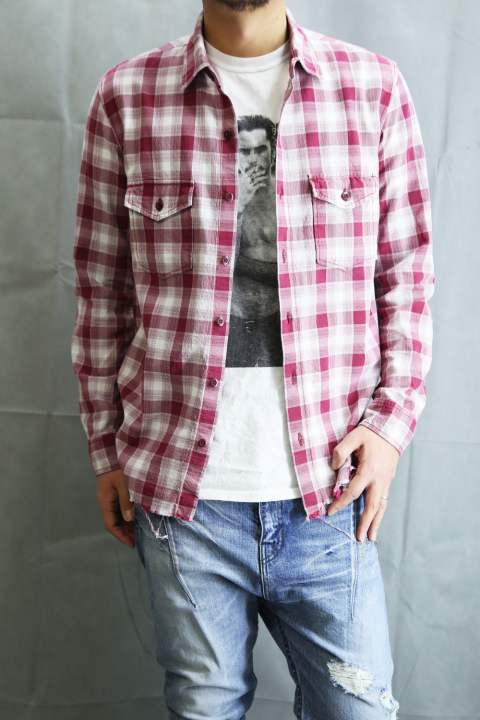 COTTON HARD TWIST YARN CREPE CHECK SHIRTS  Red