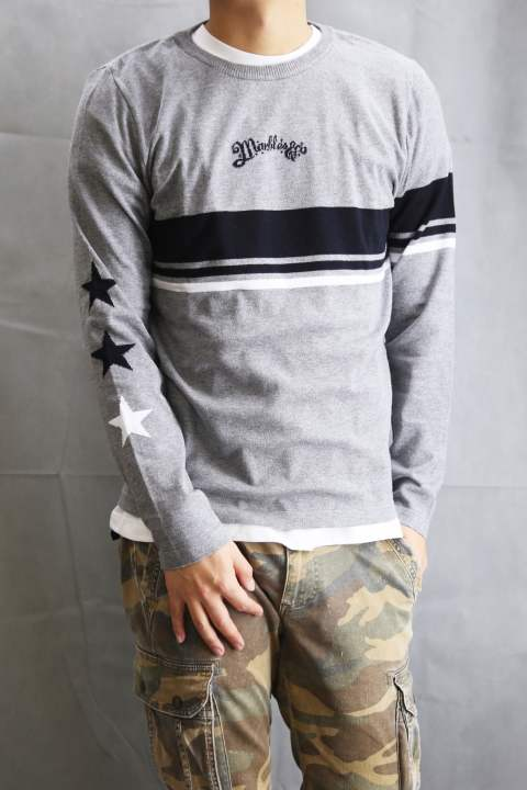 STARS BORDER INTARSIA CREW NECK KNIT  Gray