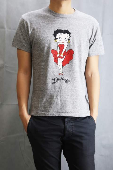 BETTY BOOP×Marbles T-SHIRT Top Gray