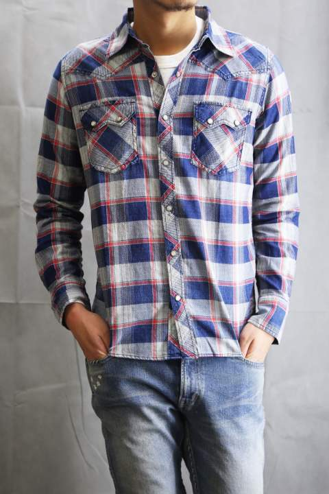 L/SL ORIGINAL INDIGO CHECK SHIRTS  Red