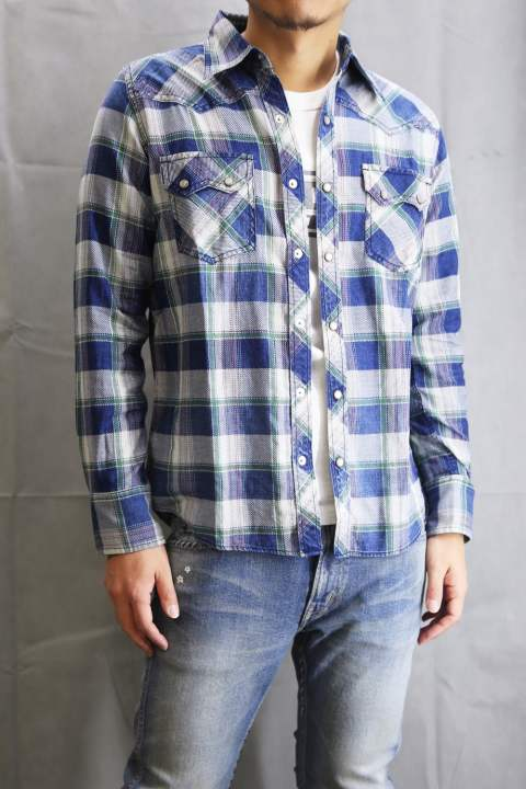 L/SL ORIGINAL INDIGO CHECK SHIRTS  Green