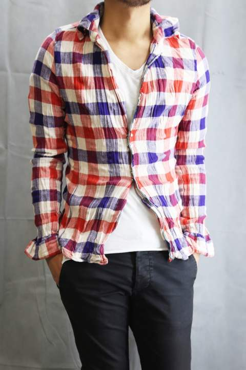 Wrinkle Check Shirt RED×PURPLE