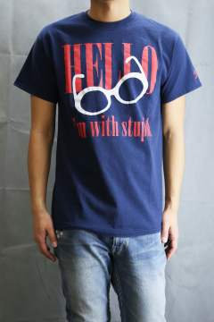 【ラスト1点サイズS】 HELLO DAMAGE T-SHIRT Navy