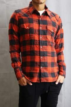 BUFFALO SLUB CHECK SHIRTS  Red