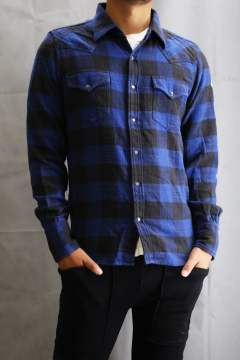 BUFFALO SLUB CHECK SHIRTS  Blue