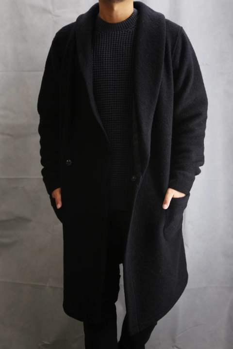 Wool Jersey Dressing Gown Black