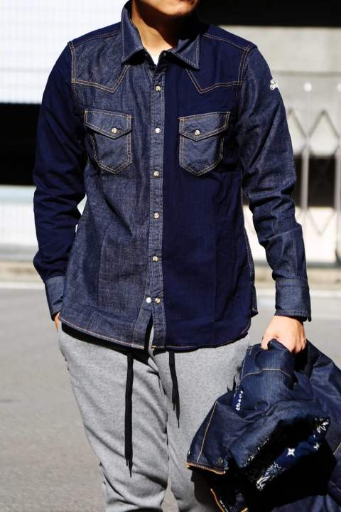 L/SL CRAZY DENIM SHIRT  Denim
