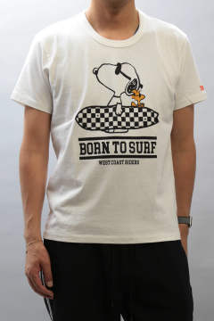 【ラスト1点 M】 PEANUTS×TMT S/SL 17/1 JERSEY(BORN TO SURF)  WHITE