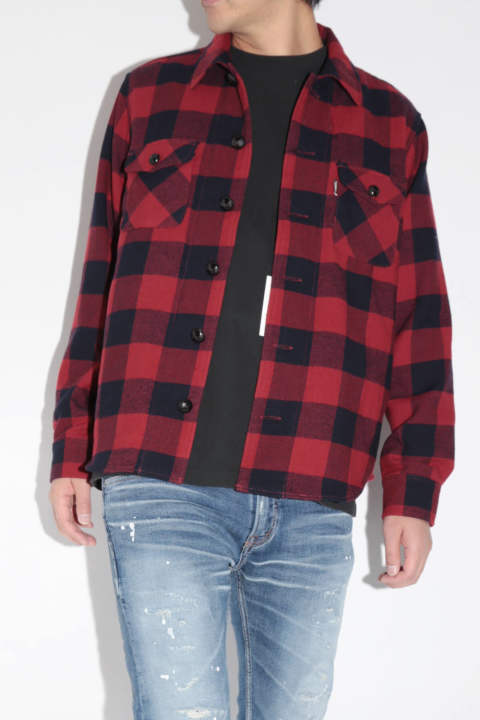 【ラスト1点SizeXL】 COTTON-WOOL BUFFALO CHECK SHIRTS RED