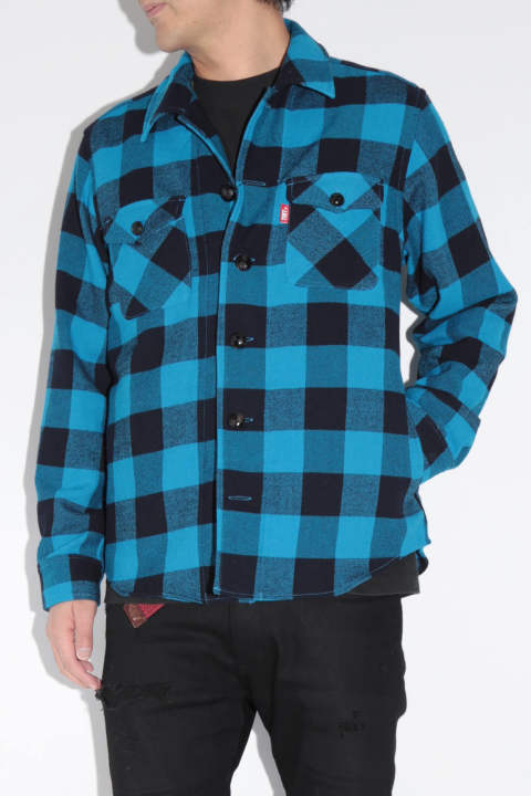 COTTON-WOOL BUFFALO CHECK SHIRTS Turquoise