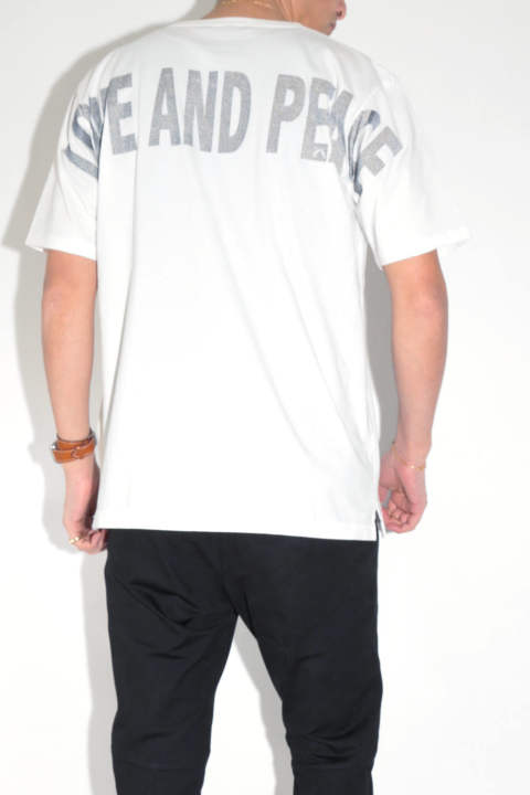 AMERICAN COTTON COMBER JERSEY BIG-T (LOVE AND PEACE)  White x Gray