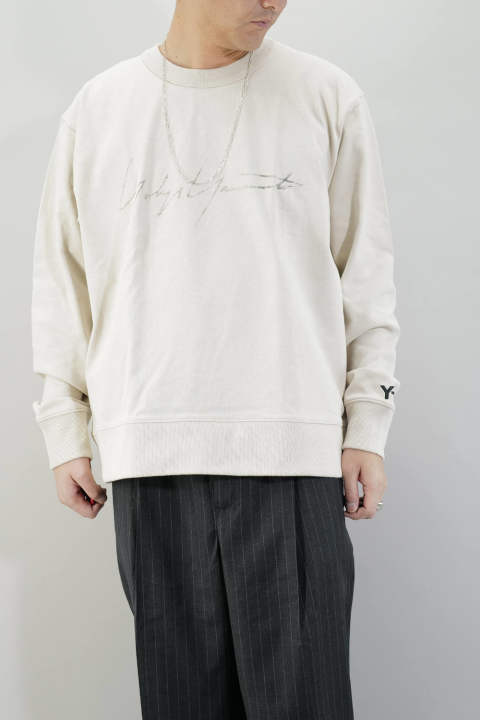 【ラスト1点L】M DISTRESSED SIGNATURE CREW SWEATSHIRT Ecru